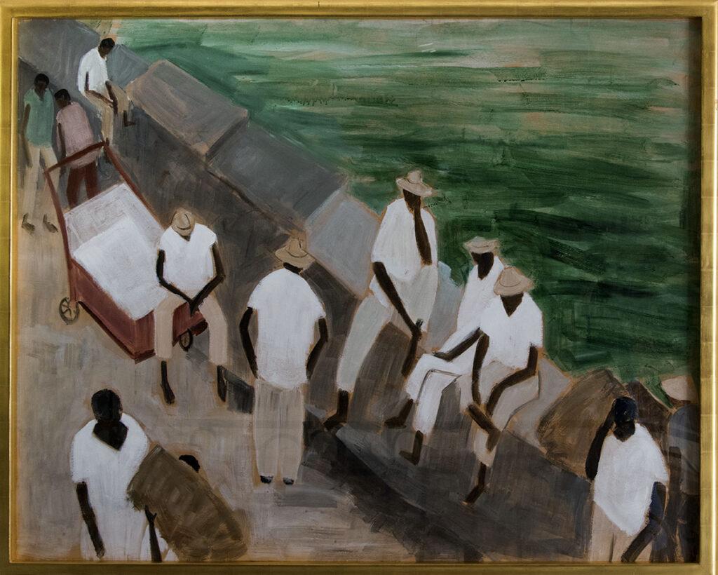 Sitting on the Breakwater, Panama by Helen Rousseau