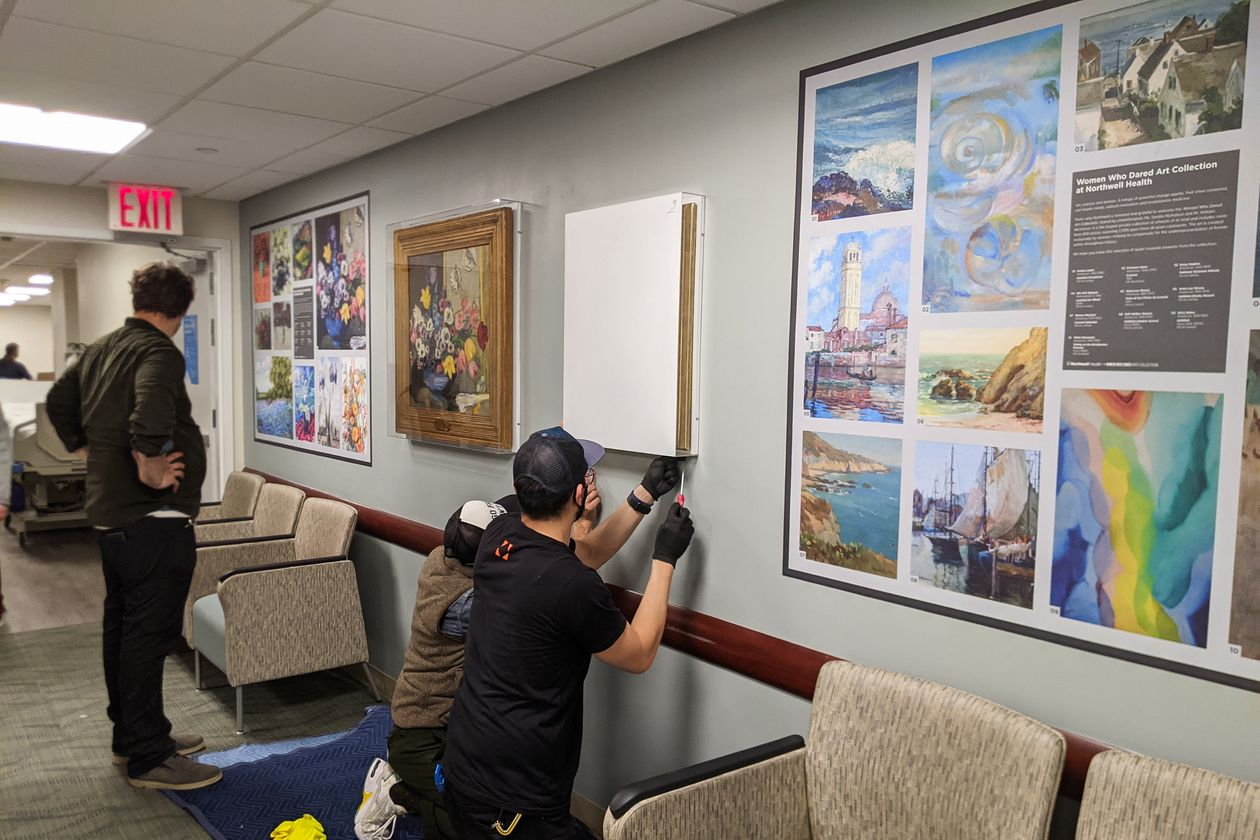 Workers installed works from collection earlier this month at Lenox Hill Hospital.
