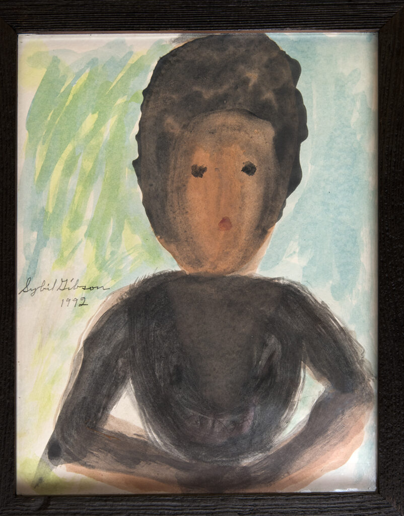 Naive Portrait Painting of a Woman in Black